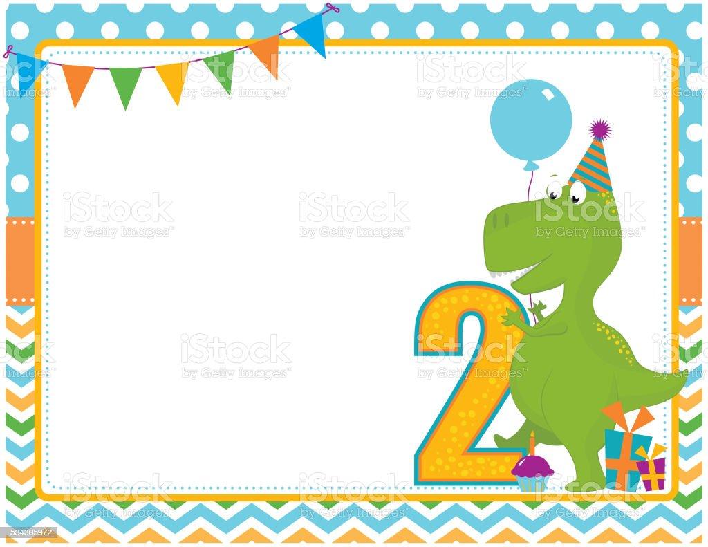 Dinosaur Second Birthday Card vector art illustration