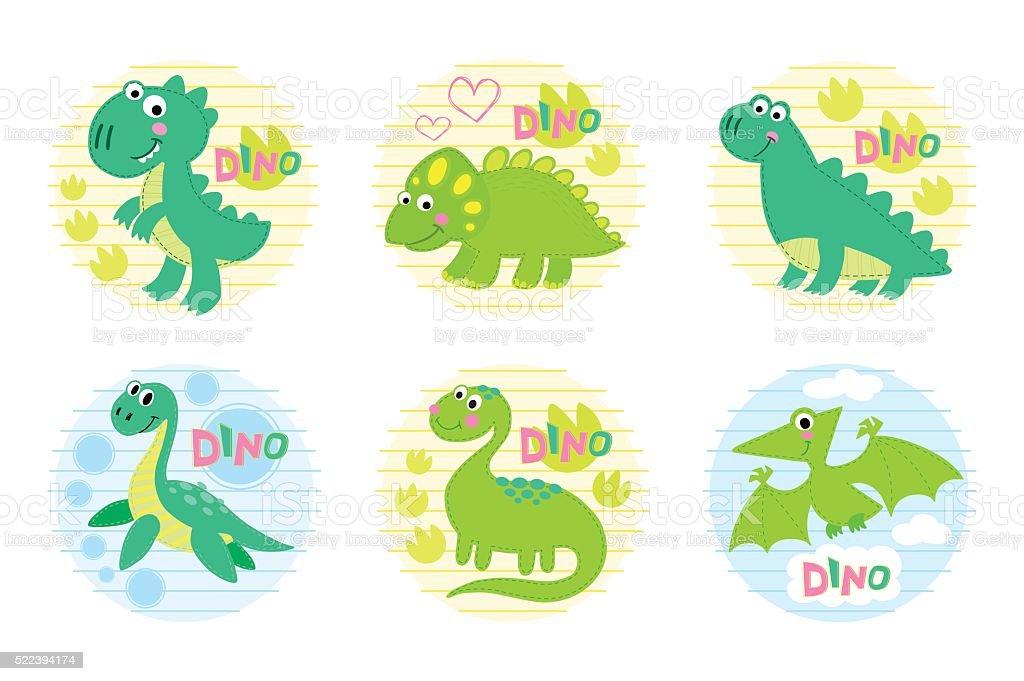 Dinosaur set vector illustration. vector art illustration