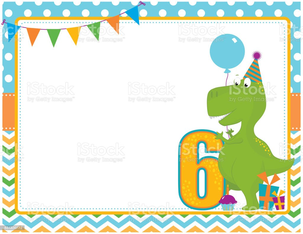 Dinosaur Sixth Birthday Card vector art illustration