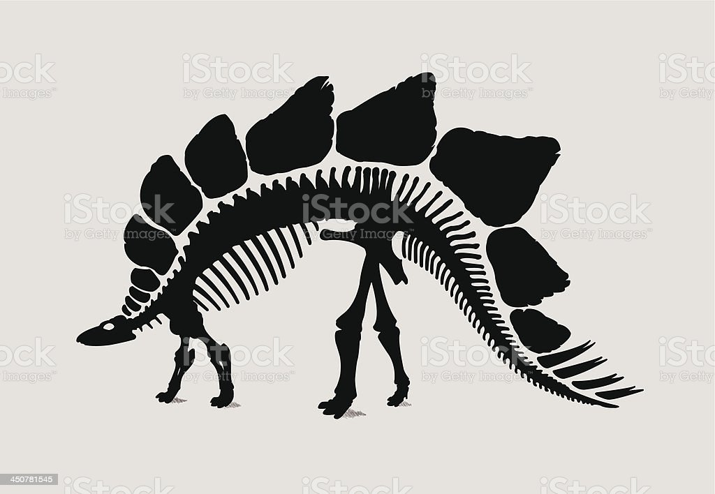 Dinosaur Skeleton Silhouette vector art illustration