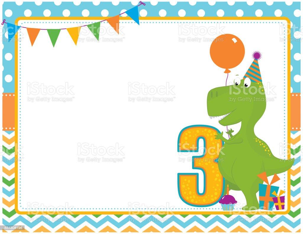 Dinosaur Third Birthday Card vector art illustration