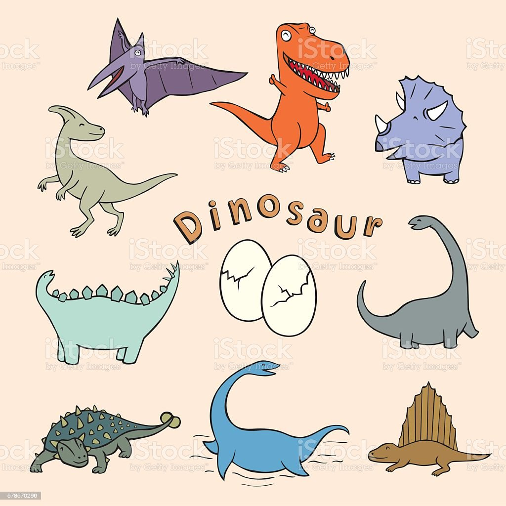 dinosaur toon vector art illustration