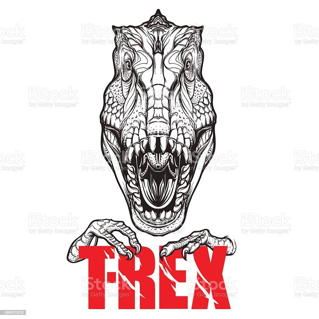 Dinosaur tyrannosaurus roaring head with t-rex sign vector art illustration