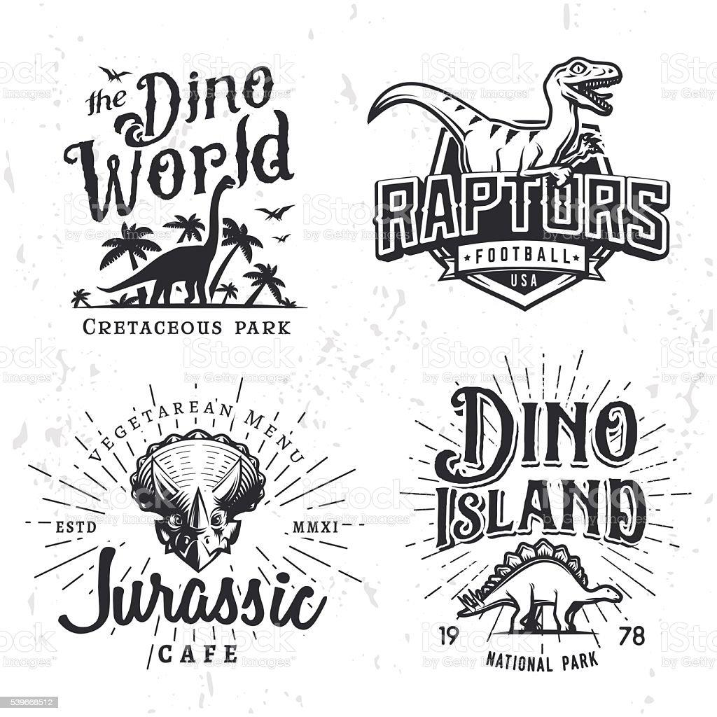 Dinosaur Vector Insignia Set. Triceratops t-shirt illustration concept. Raptors vector art illustration