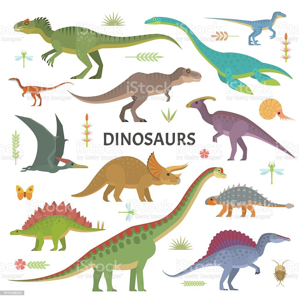 Dinosaurs collection vector art illustration