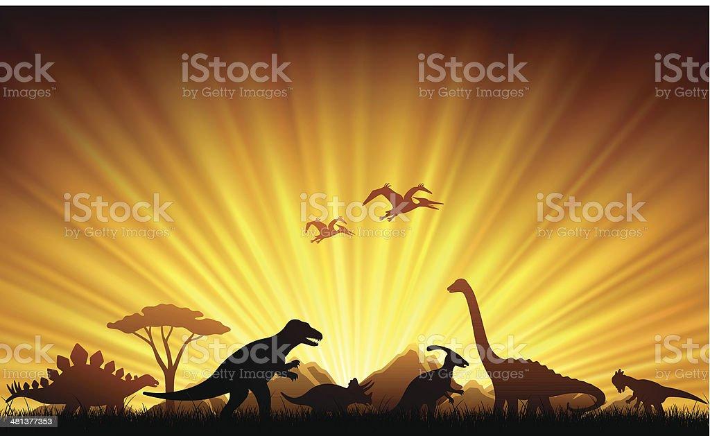 Dinosaurs Extinction vector art illustration