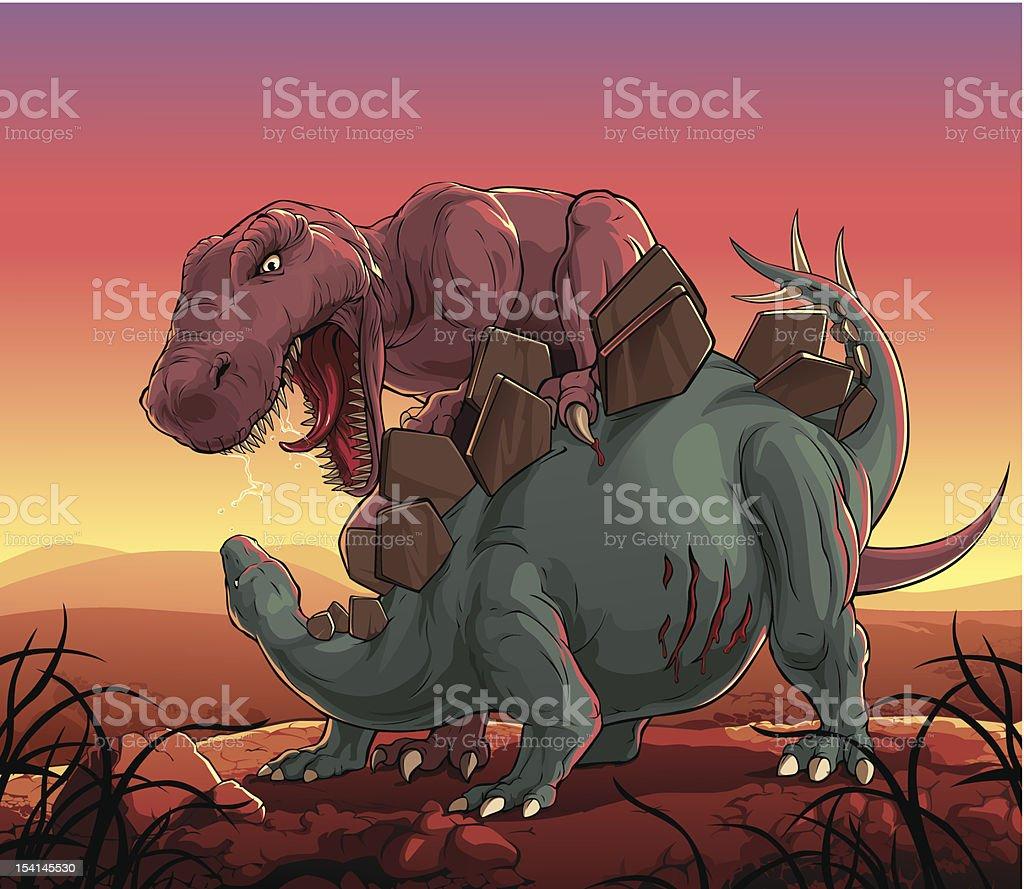 Dinosaurs fight: T-Rex vs Stegosaurus vector art illustration