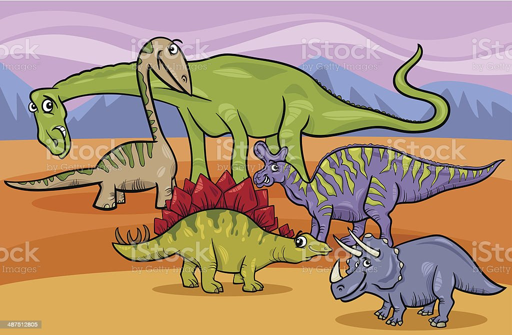dinosaurs group cartoon illustration vector art illustration