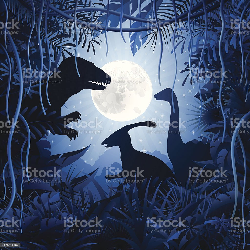 Dinosaurs in the Jungle vector art illustration