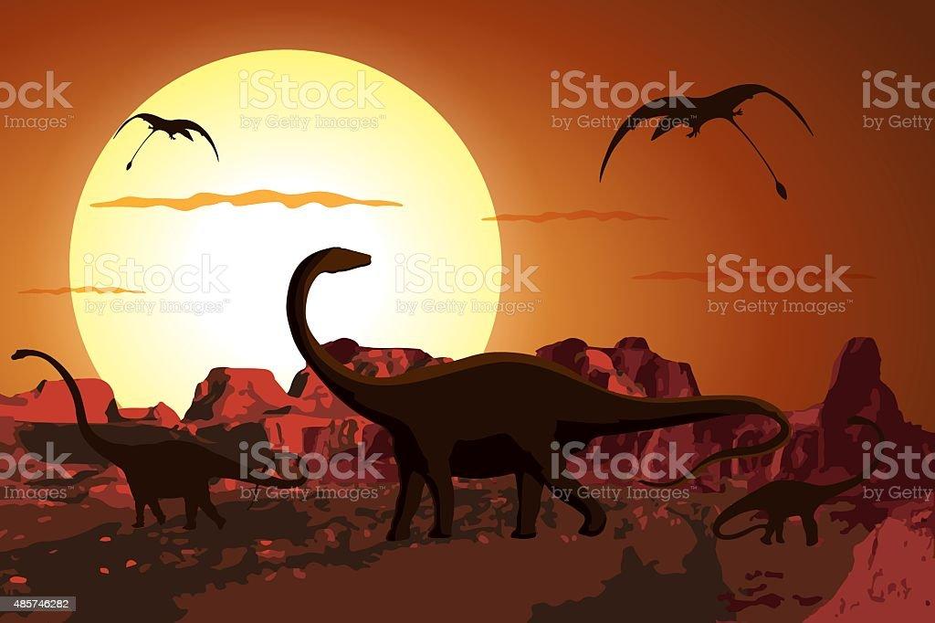 Dinosaurs in the Jurassic Period vector art illustration