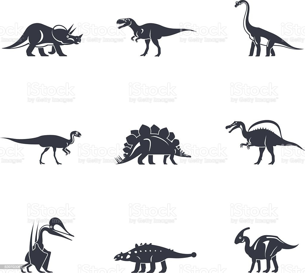 Dinosaurs silhouettes icons vector art illustration