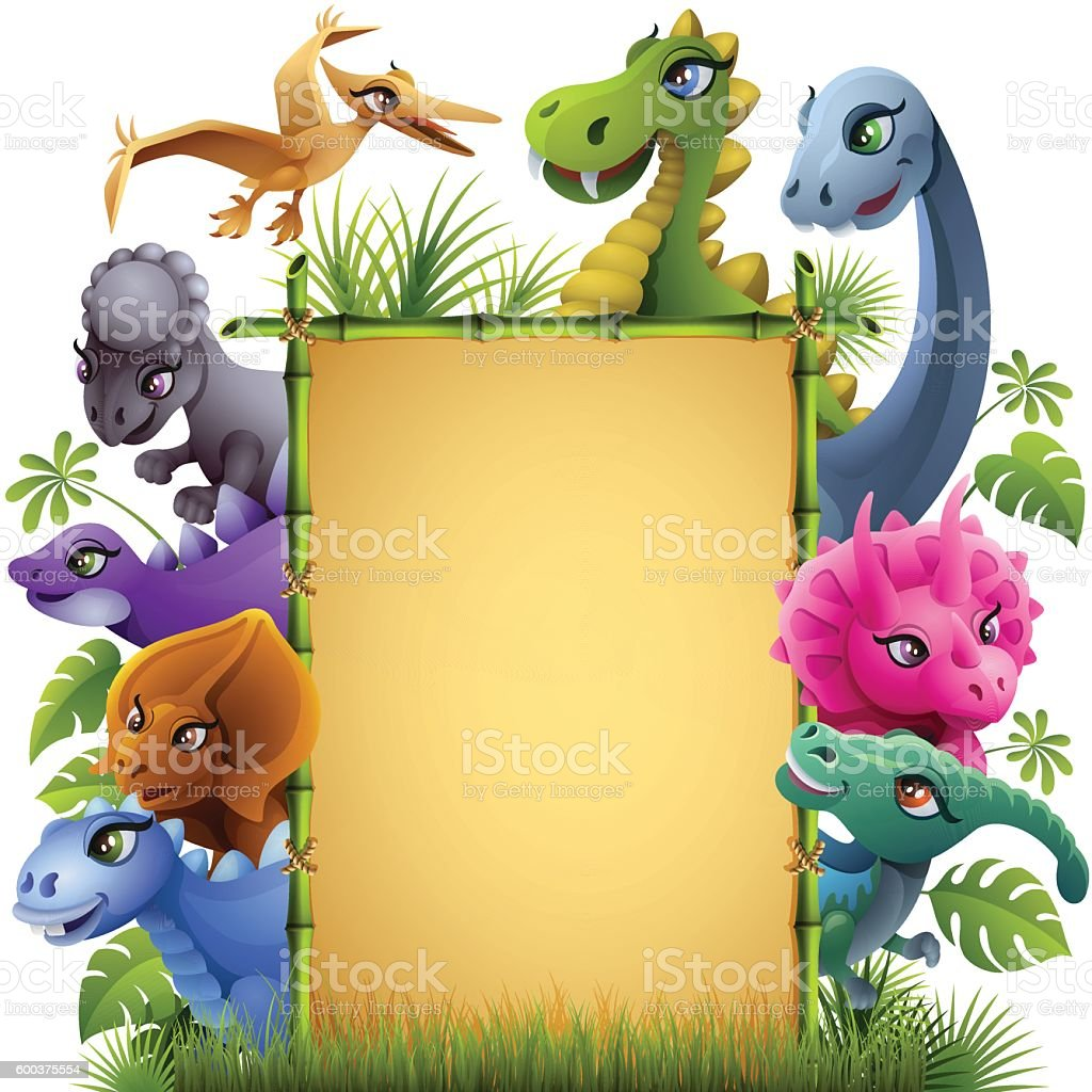 Dinosaurs with Bamboo Sign vector art illustration