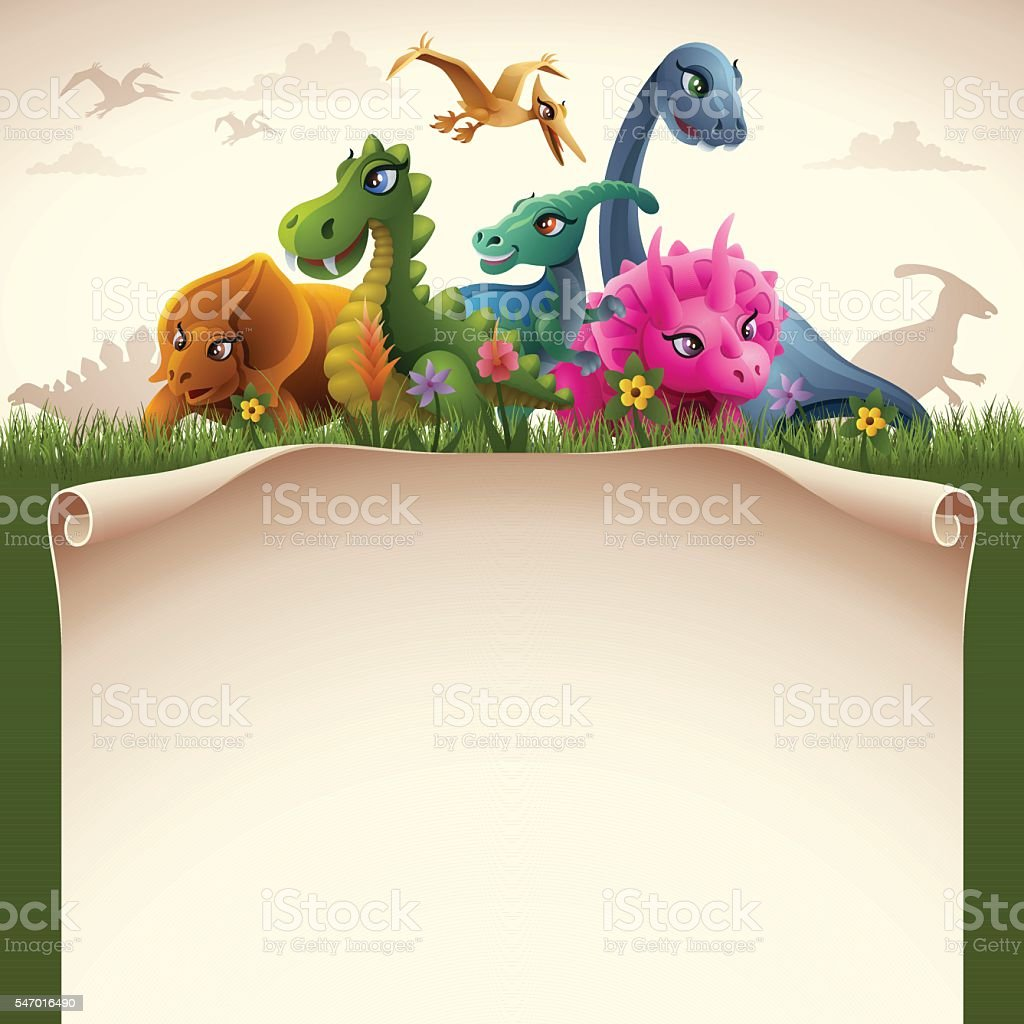 Dinosaurs with Paper Scroll vector art illustration