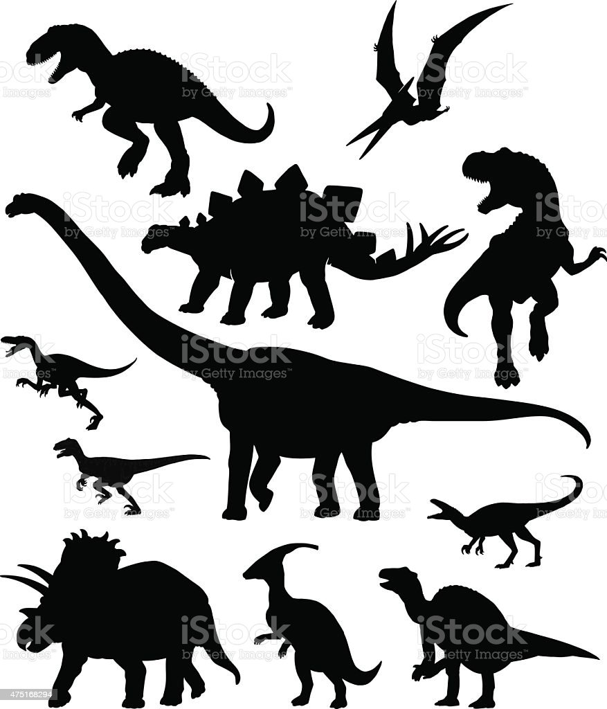 Dinosaurus Set - Silhouettes vector art illustration