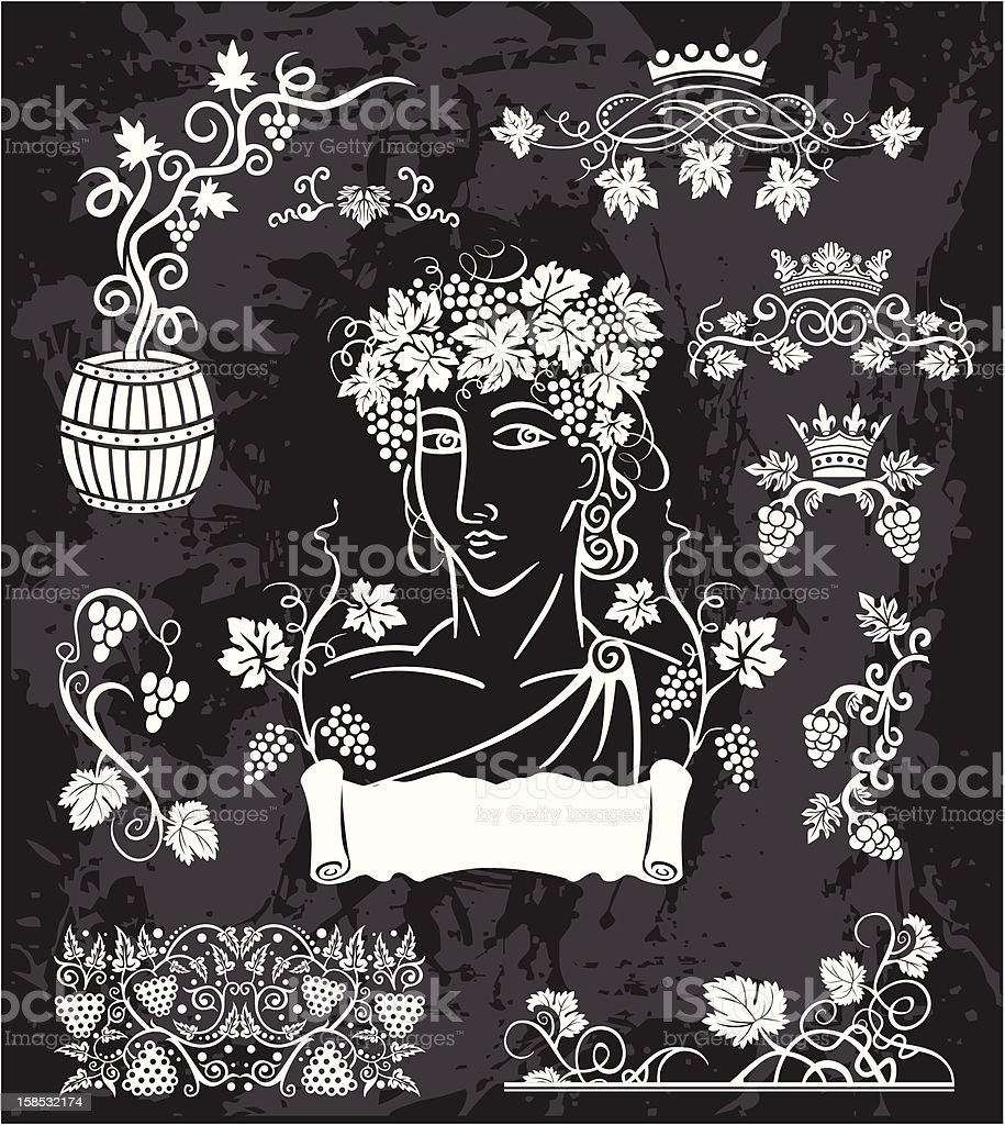 Dionis portrait & wine elements set royalty-free stock vector art