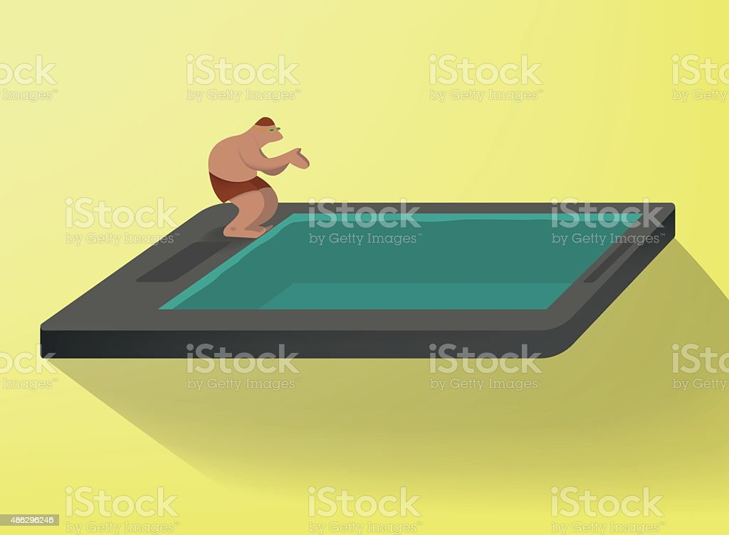 dip into the smartphone vector art illustration