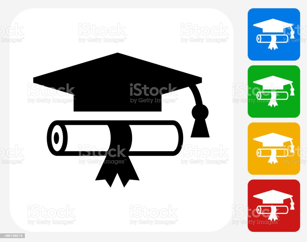 Diploma and Hat Icon Flat Graphic Design vector art illustration