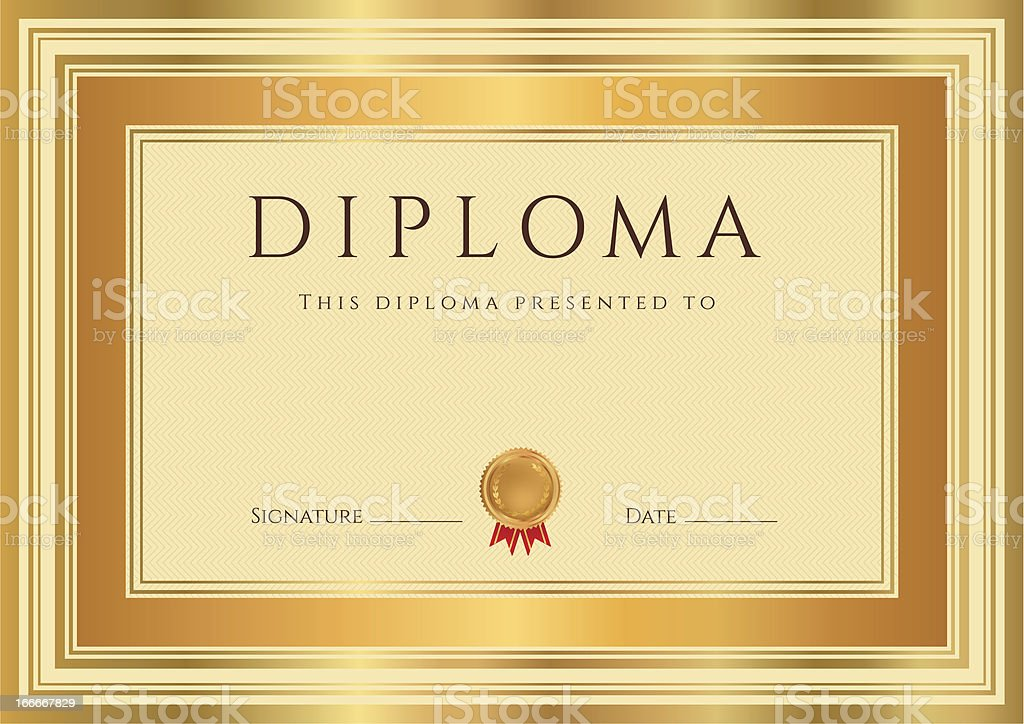 Diploma / Certificate (template). Award background design with bronze, gold frame royalty-free stock vector art