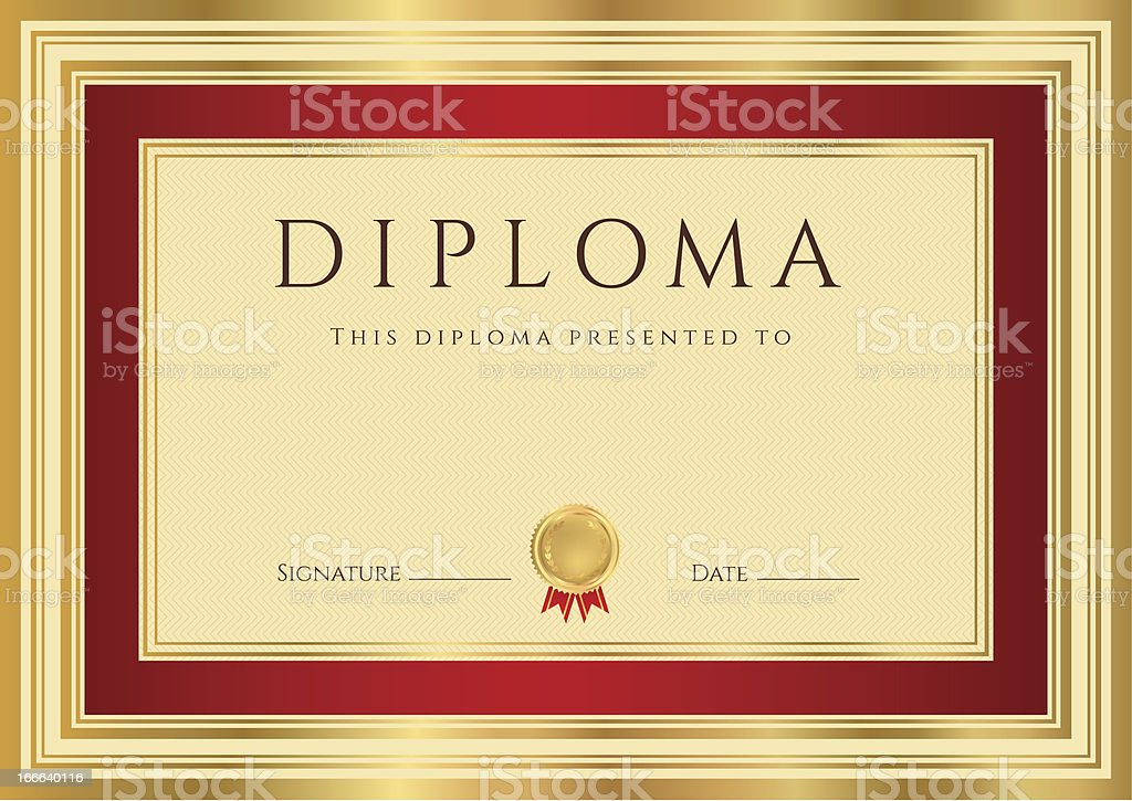 Diploma / Certificate (template). Award background design with gold, red frame royalty-free stock vector art