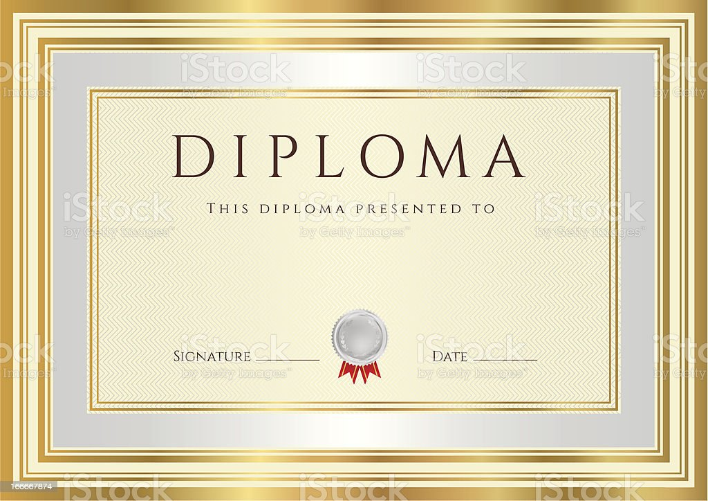 Diploma / Certificate (template). Award background design with silver, gold frame royalty-free stock vector art