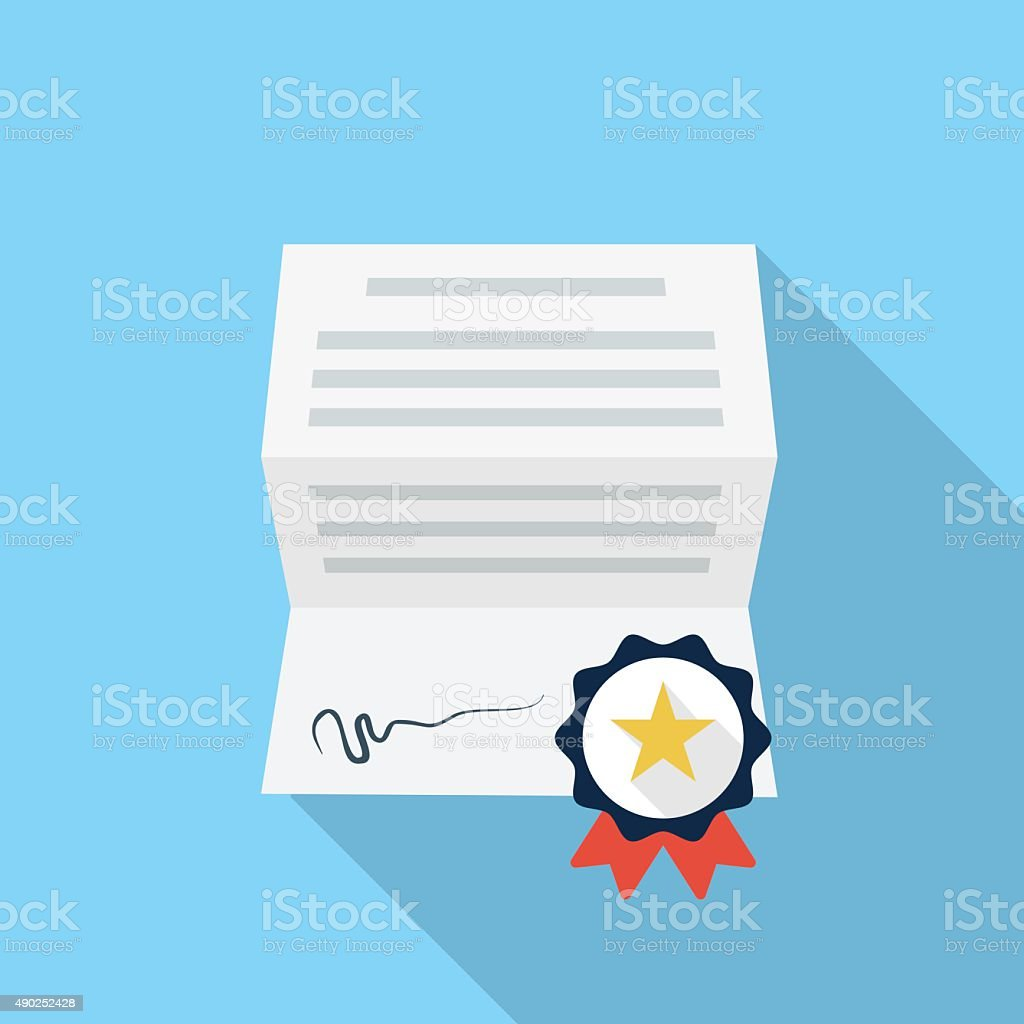 Diploma, certificate, award icon vector art illustration