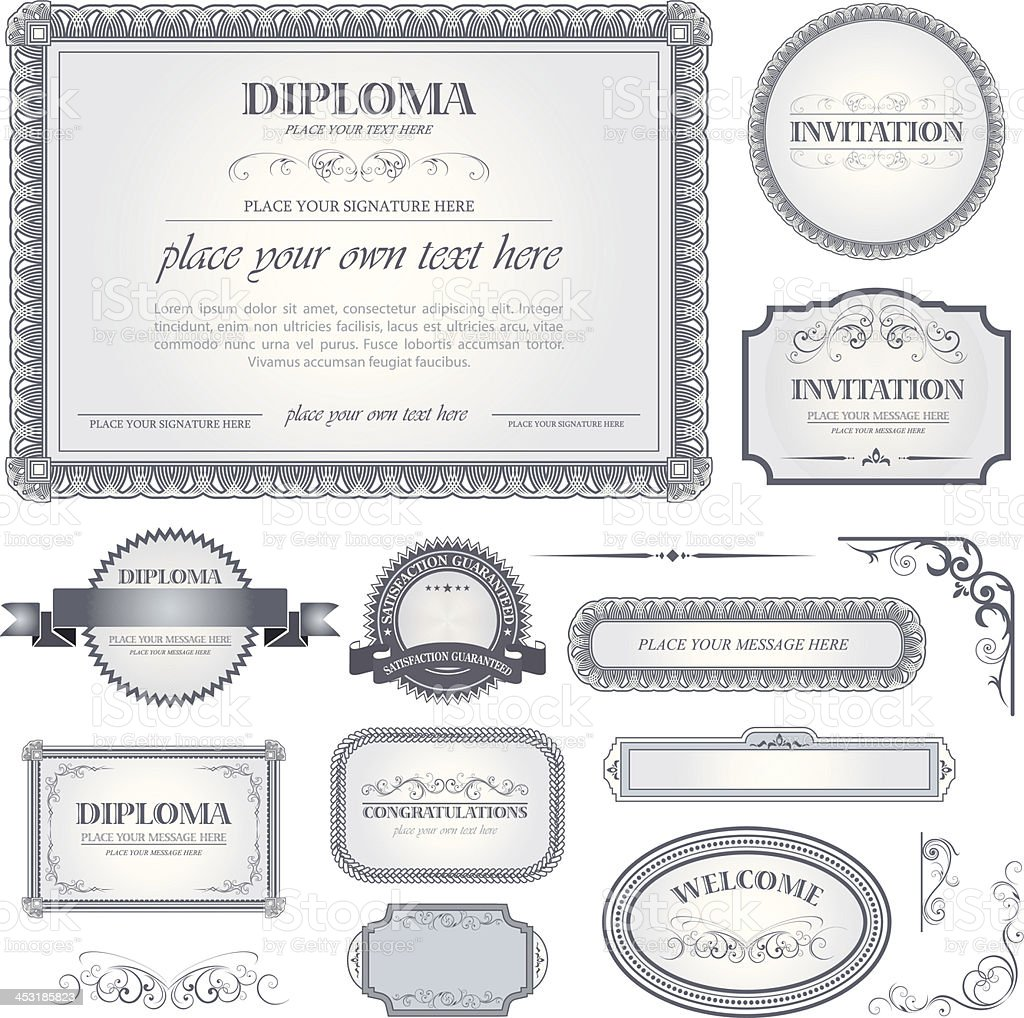 Diploma template with additional design elements vector art illustration