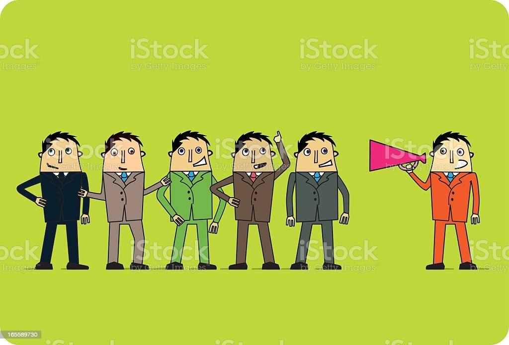 Directing the Team vector art illustration