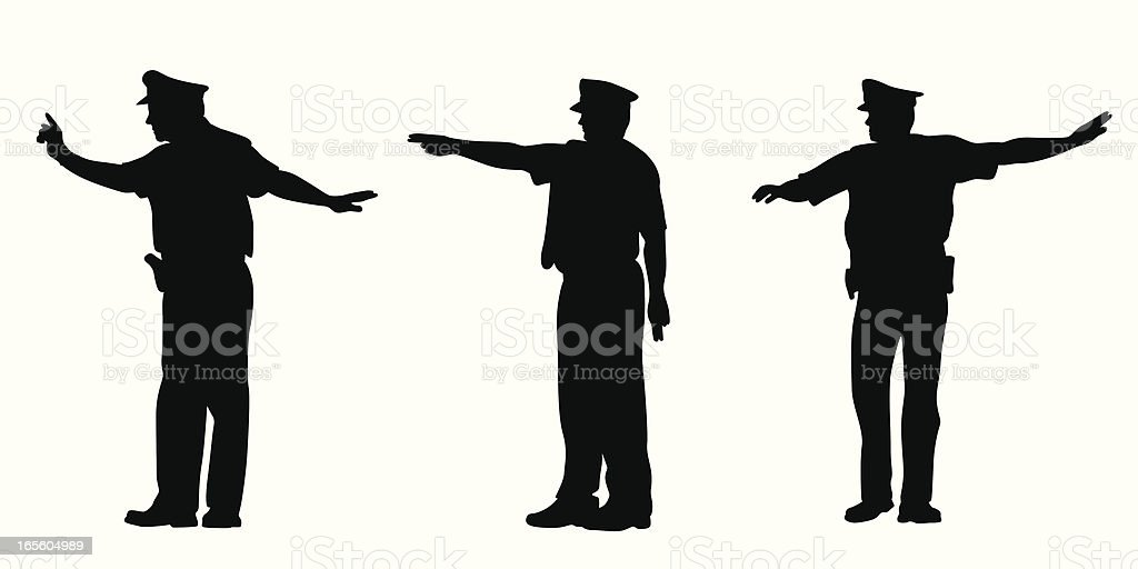 Directing Traffic Vector Silhouette royalty-free stock vector art