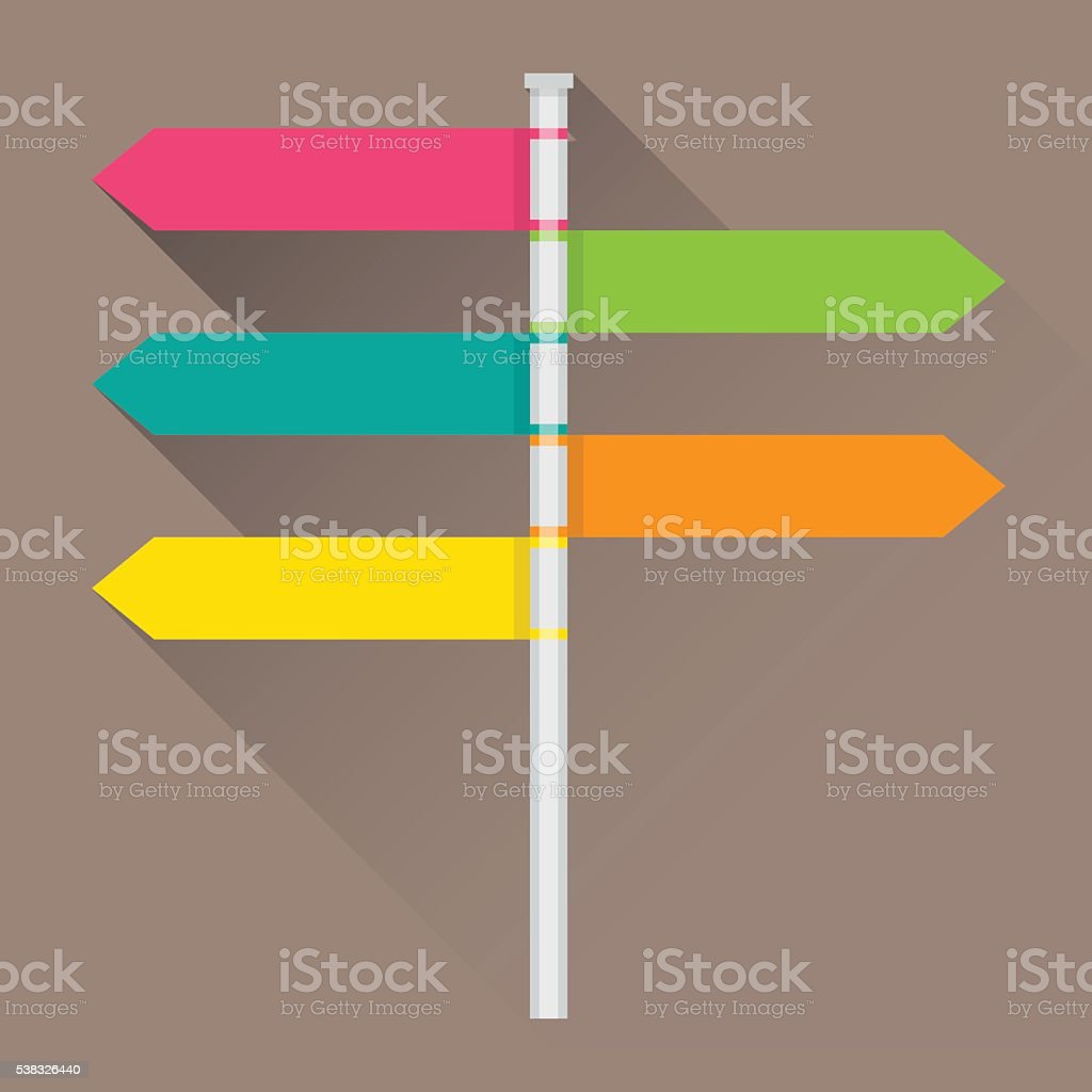 Direction sign with blank spaces for text vector art illustration