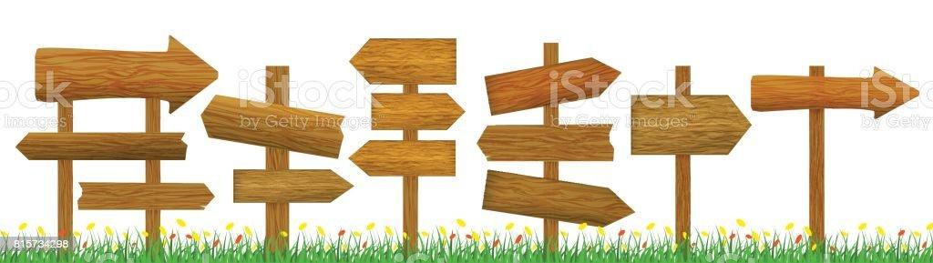 Direction Wooden Arrow Set Row. Vector vector art illustration