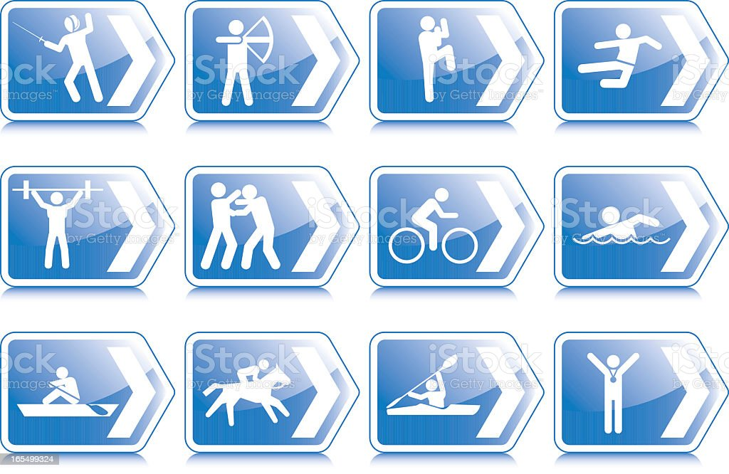 Directional Sports Signs royalty-free stock vector art