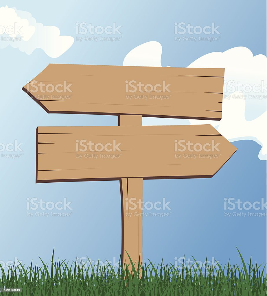 Directional Wooden Sign royalty-free stock vector art