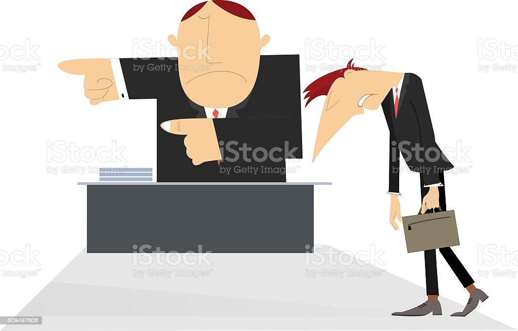 Director and sad employee vector art illustration