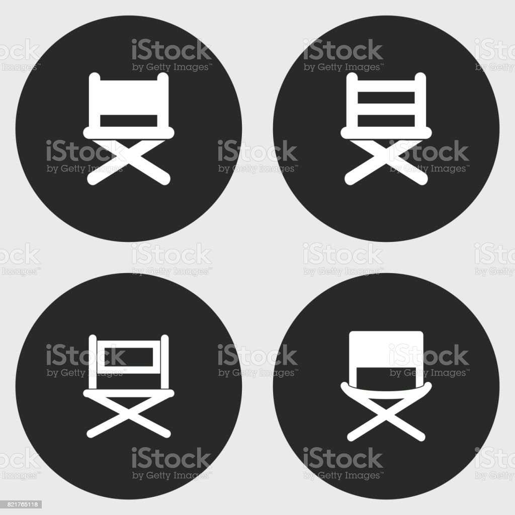 Director chair icon set. vector art illustration