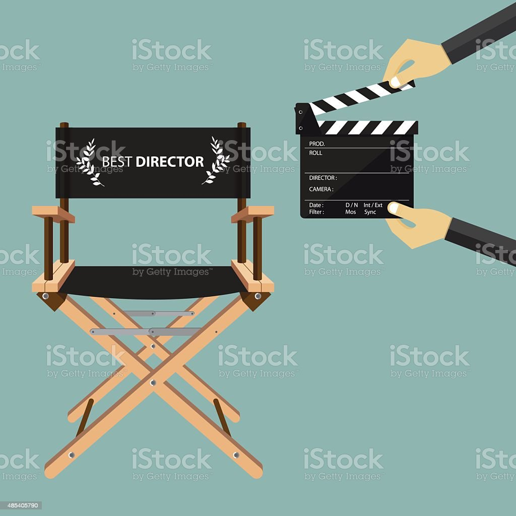 Director chair in flat design with movie clapperboard. Vector. vector art illustration