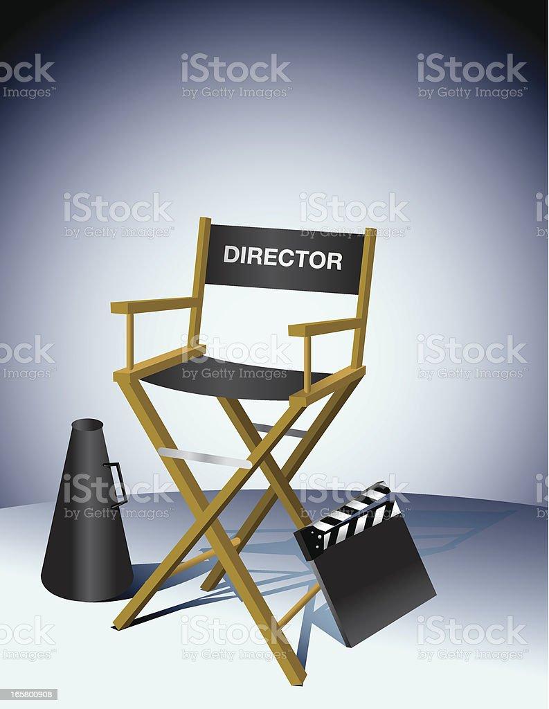 Director Chair Movie Slate Megaphone vector art illustration