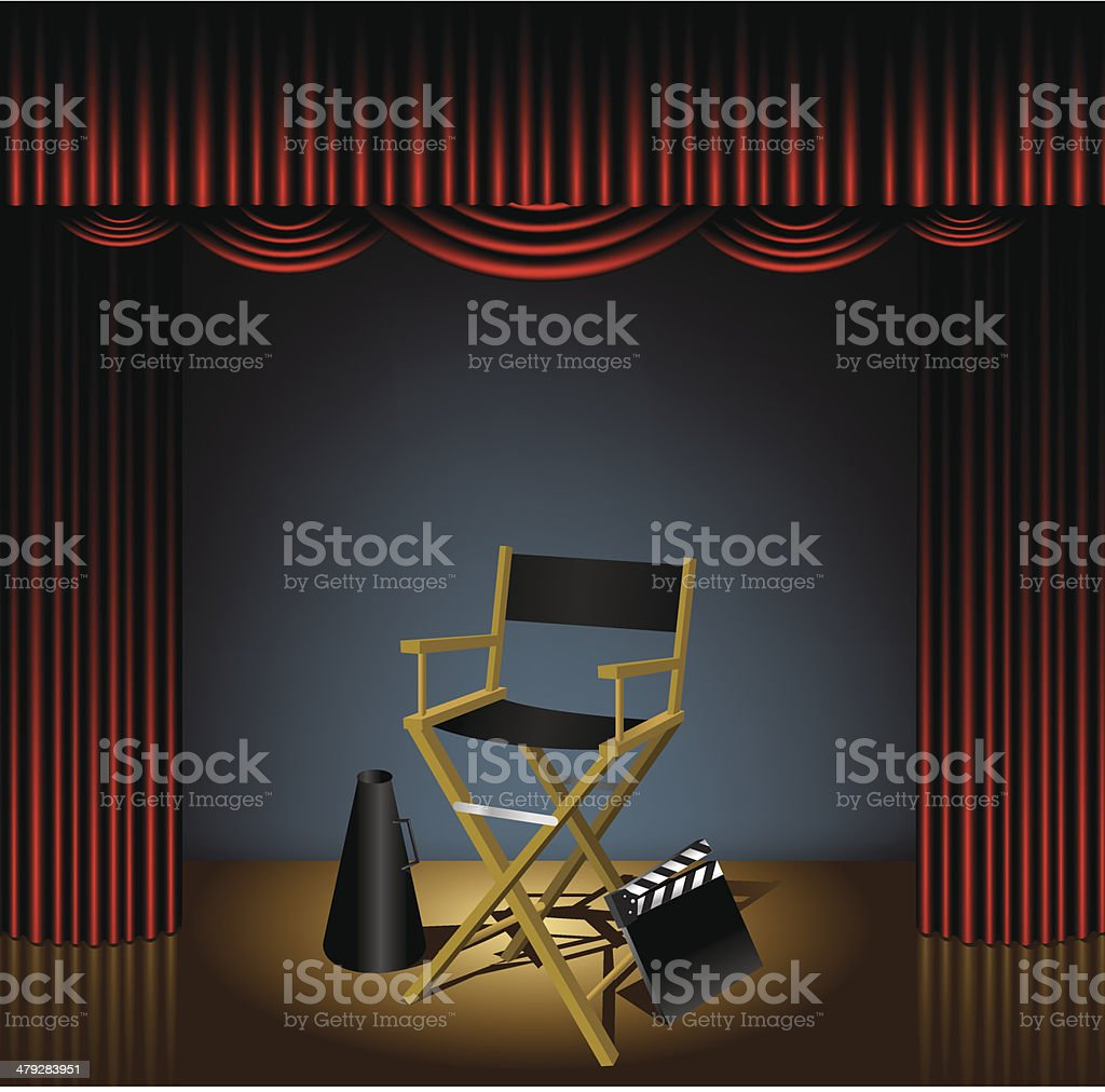 Director Chair on Stage vector art illustration