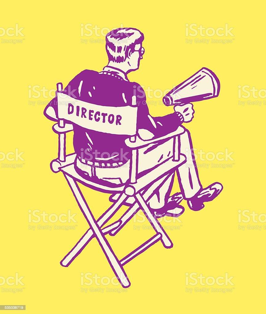 Director in Chair vector art illustration