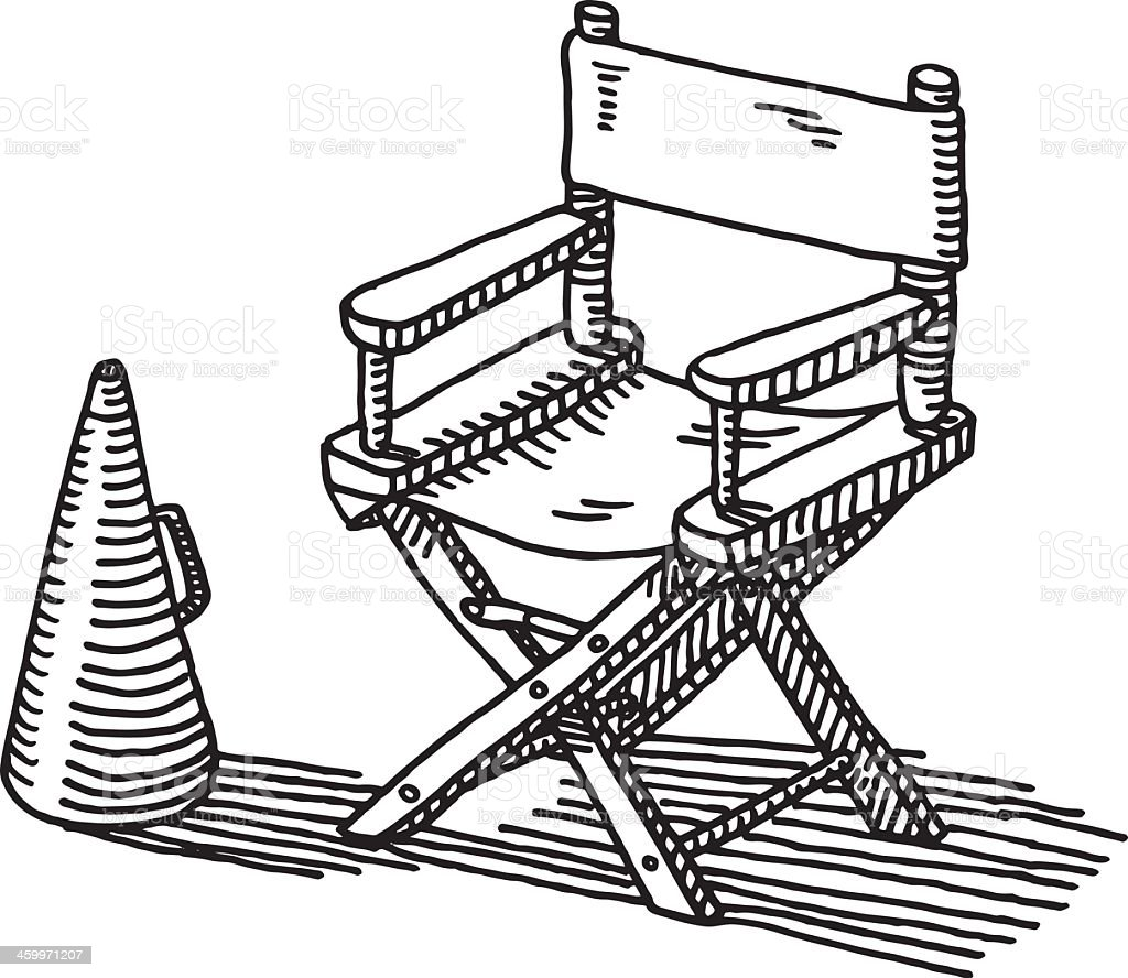 Black and white chair drawing - Director S Chair Bullhorn Drawing Royalty Free Stock Vector Art