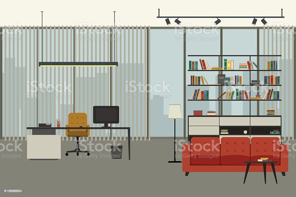 Director's office interior vector art illustration