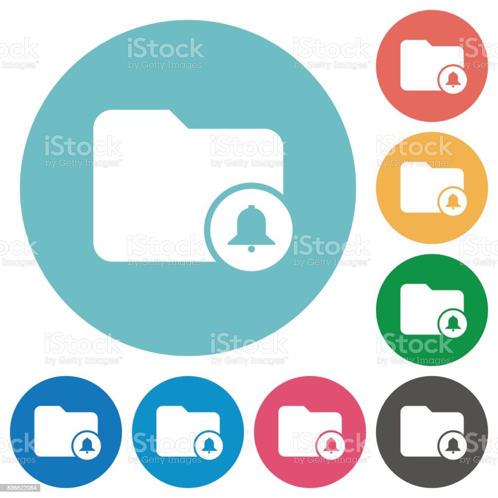 Directory alerts flat round icons vector art illustration