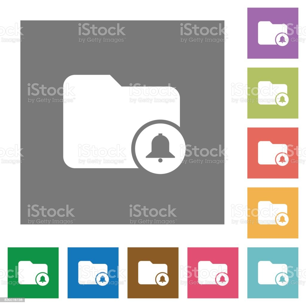 Directory alerts square flat icons vector art illustration