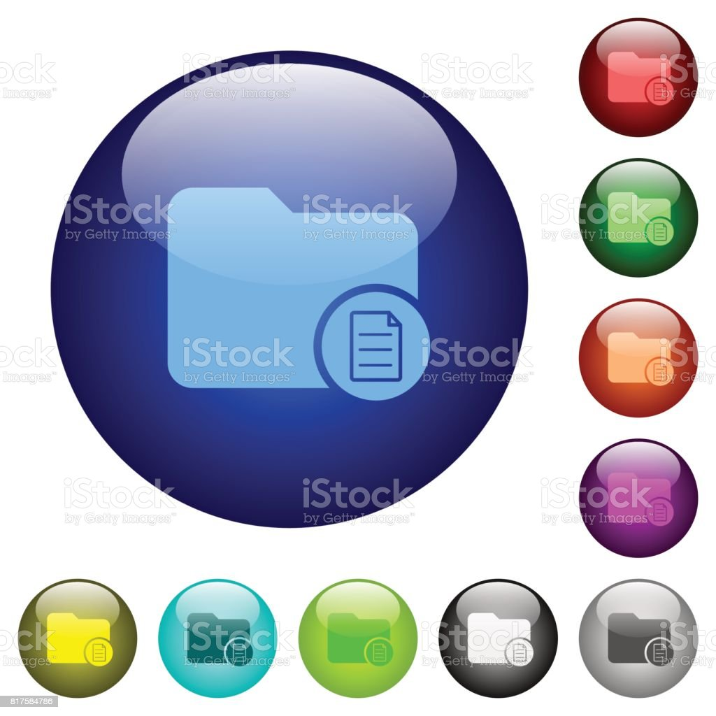 Directory properties color glass buttons vector art illustration