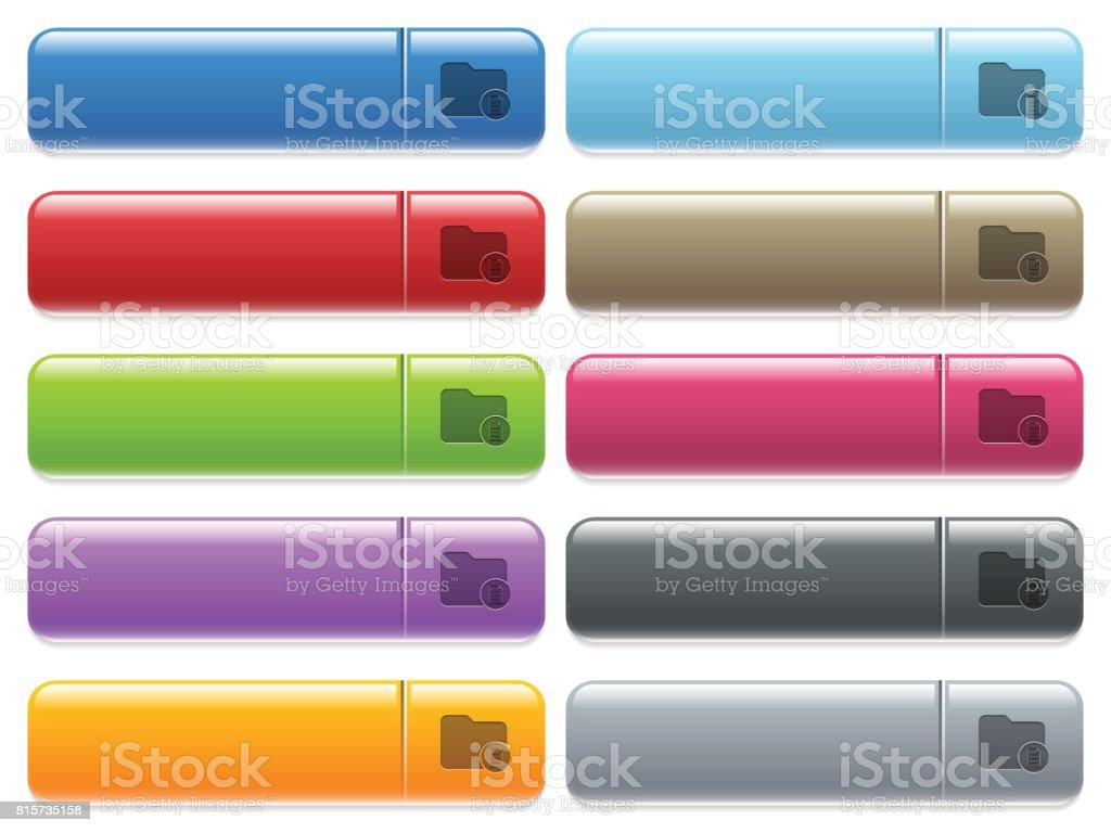 Directory properties icons on color glossy, rectangular menu button vector art illustration