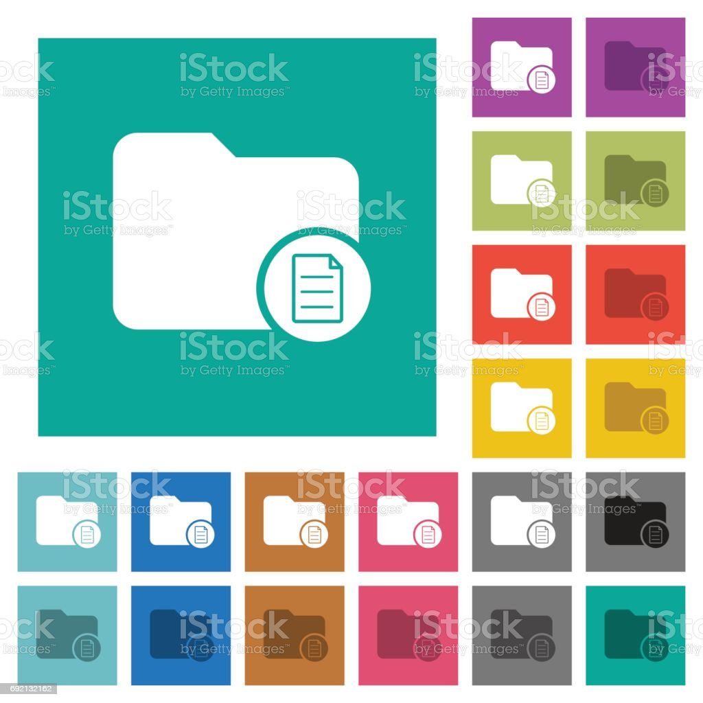 Directory properties square flat multi colored icons vector art illustration