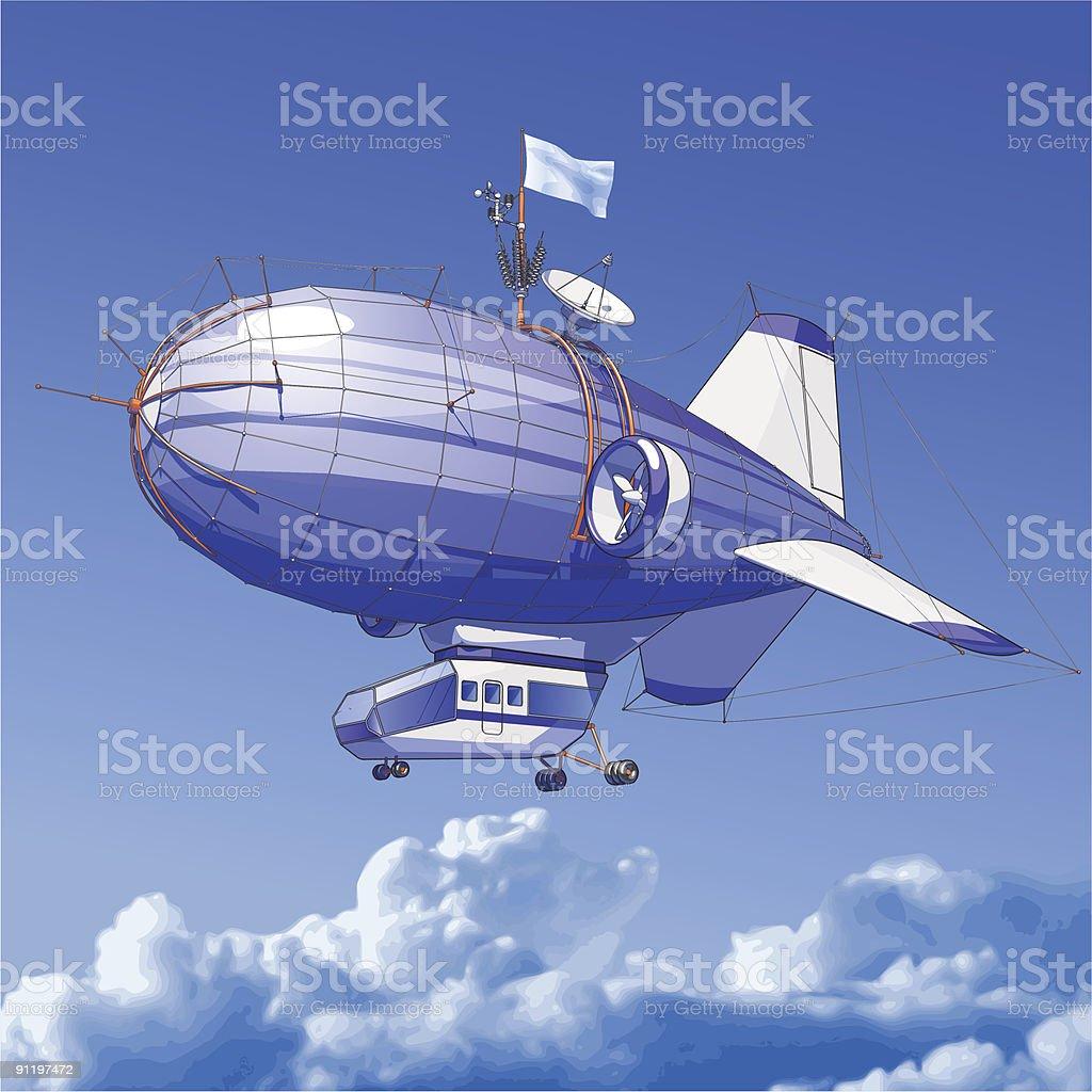 Dirigible balloon royalty-free stock vector art