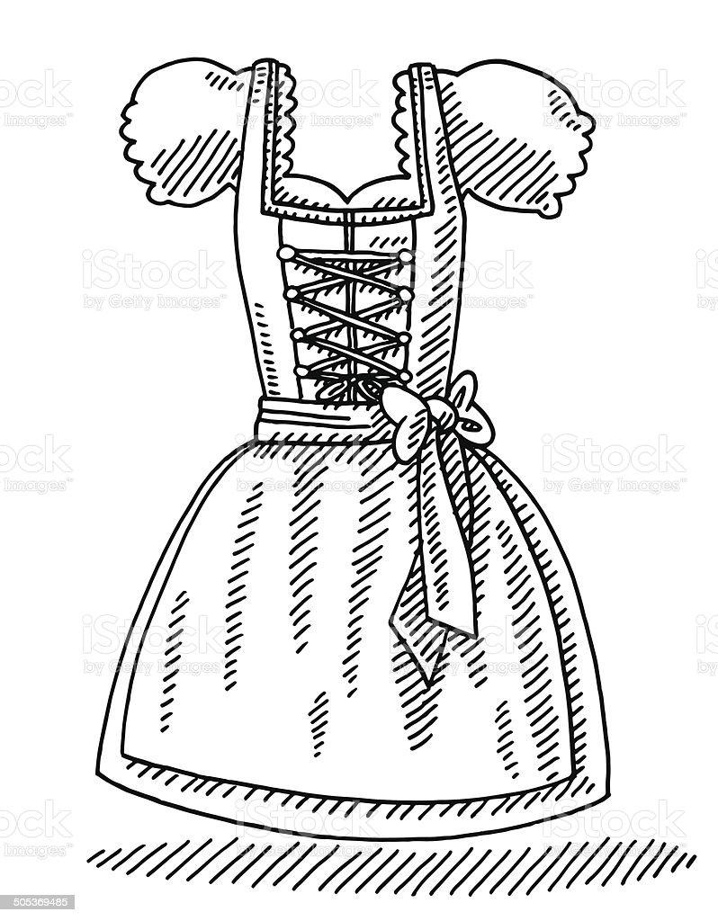 Dirndl Bavarian Women's Clothing Drawing royalty-free stock vector art