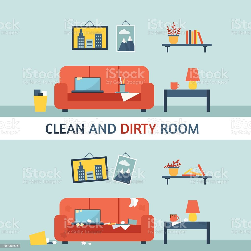 Dirty and clean room. vector art illustration