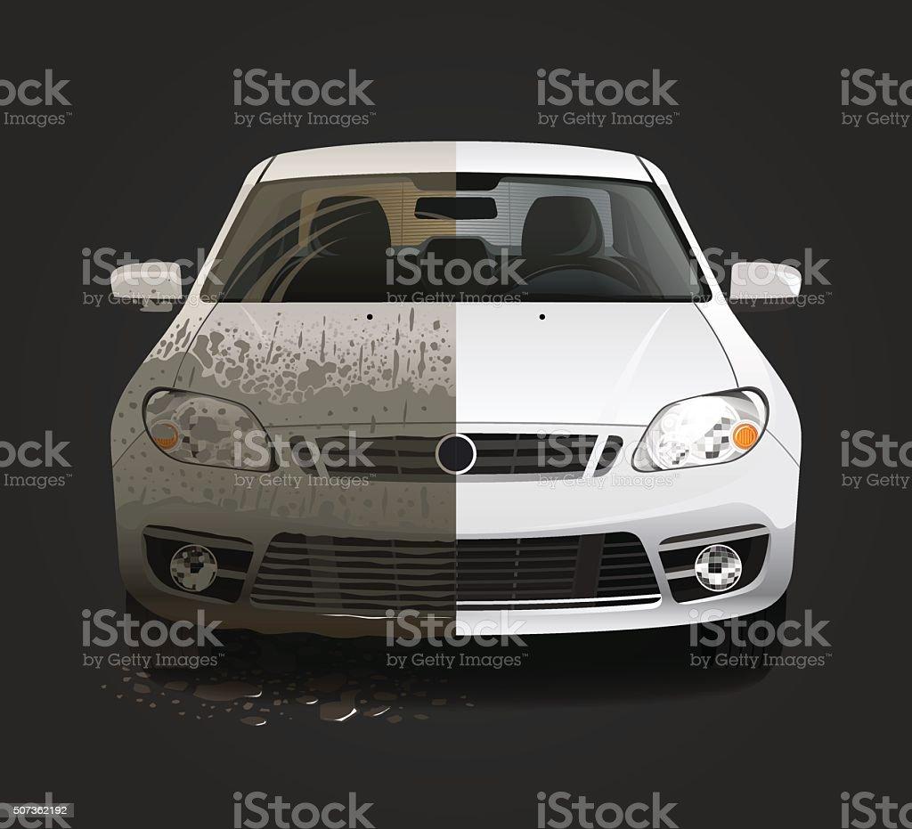 Dirty car wash service vector art illustration