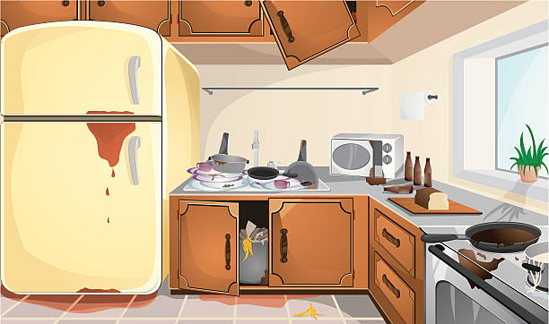 Dirty Kitchen Clip Art, Vector Images & Illustrations - iStock